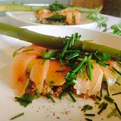 Spring salmon & asparagus starter